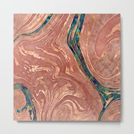 Abstract Rose Marble and quartz crystal Texture Metal Print