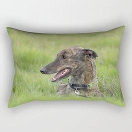 Dusty the brindle greyhound Rectangular Pillow