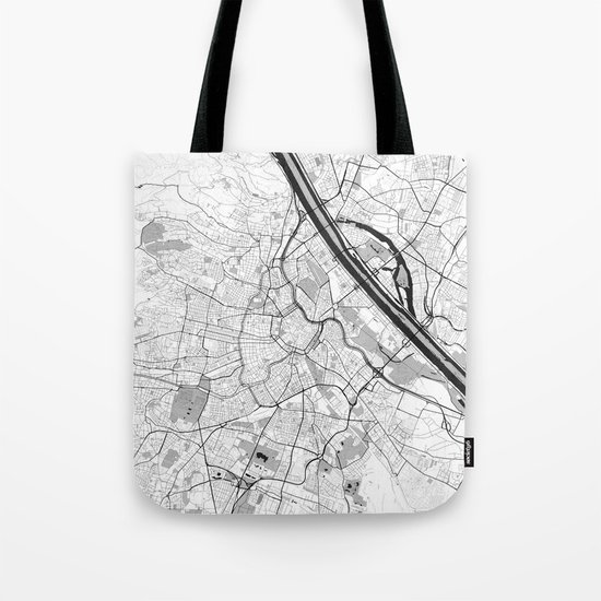 Vienna City Map Gray Tote Bag