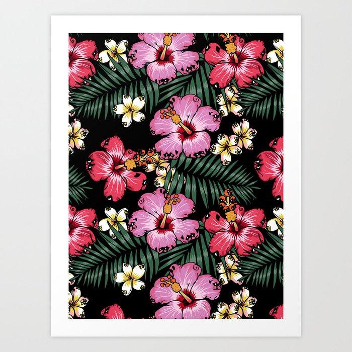 Summer Flowers Pug Art Print