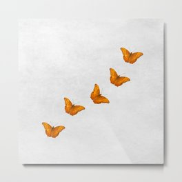 Beautiful butterflies on a textured white background Metal Print