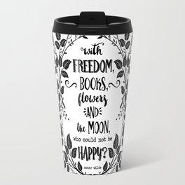 Freedom & Books & Flowers & Moon Travel Mug