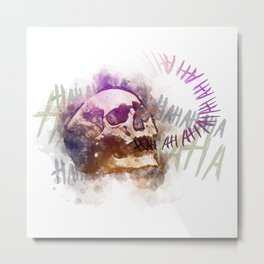 Watercolor Laughing Skull Metal Print
