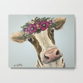 Cow with Flower Crown, Cute Cow Art Metal Print