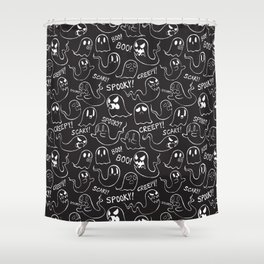 Ghosties in Black Shower Curtain