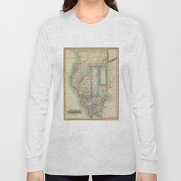 Vintage Map of Illinois (1823) Long Sleeve T-shirt
