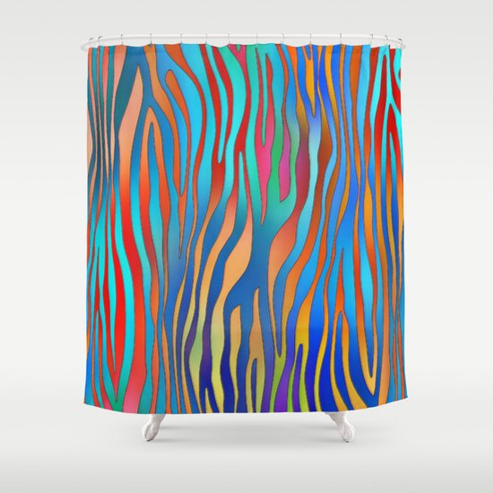 Colored Zebra Pattern Shower Curtain