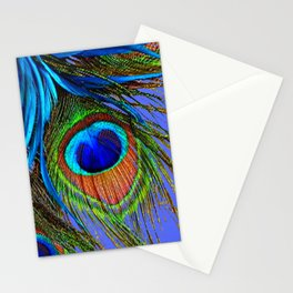 PEACOCK FEATHERS  BLUE ART Stationery Cards