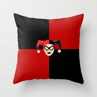harley quinn Throw Pillows featuring Harley Quinn by Electra