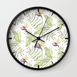 Watercolour Bird-of-Paradise Flowers and Leaves Pattern Wall Clock