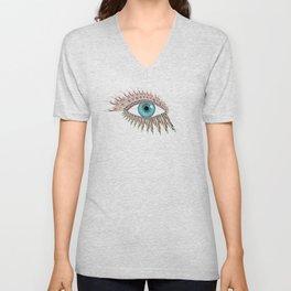 Origami Chakra Eye - Aqua Marine Blue Unisex V-Neck