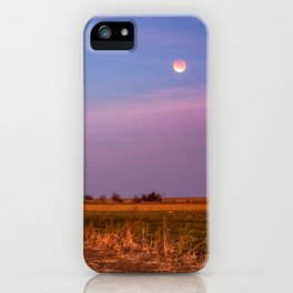 Hay Bales Under the Super Blue Blood Moon in Oklahoma iPhone Case