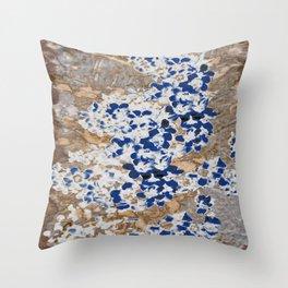 Peeling Blue Flowers Throw Pillow