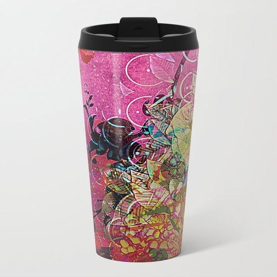 Silk Pink Floral Metal Travel Mug