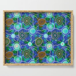 Sea turtles and jellyfish. Australian Aboriginal Art Serving Tray