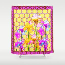 FUCHSIA-YELLOW IRIS GARDEN DESIGNS Shower Curtain