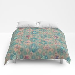 Lotus flower - pistachio green woodblock print style pattern Comforters