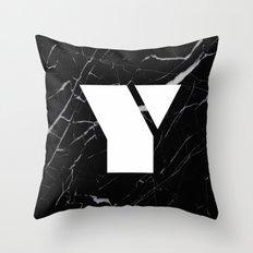 Black Marble - Alphabet Y Throw Pillow