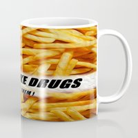 french fries Mugs featuring French Fries by Ispas Sorin