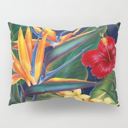 Tropical Paradise Hawaiian Floral Illustration Pillow Sham