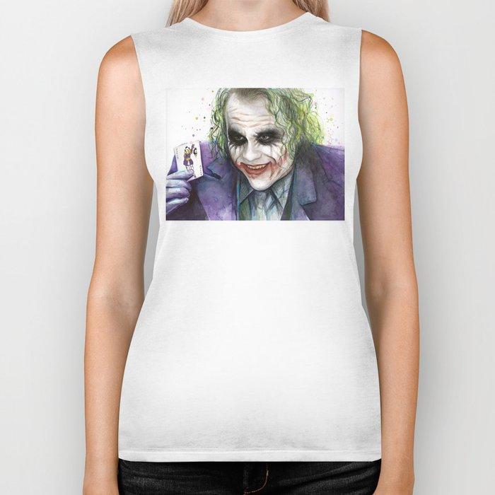 Joker Why So Serious Watercolor Biker Tank