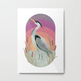 Sunset Heron Vignette Metal Print