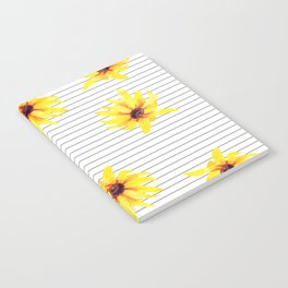 Yellow Daises on Minimal Black and White Stripes Notebook