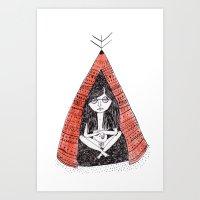 tiki Art Prints featuring Tiki by Alejandra Hernandez