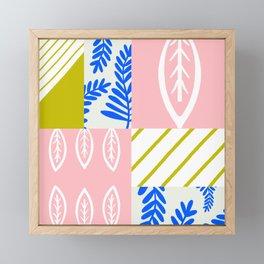 spring leaf patchwork Framed Mini Art Print