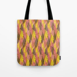 Feathers Stripe - Coral Pink and Yellow Tote Bag