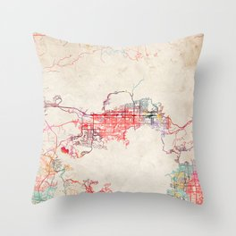Simi Valley map California painting Throw Pillow