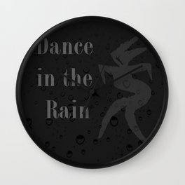 Dance in the Rain -  Black Background Wall Clock