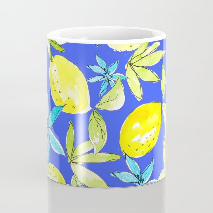 Blue Lemons and Flowers Coffee Mug