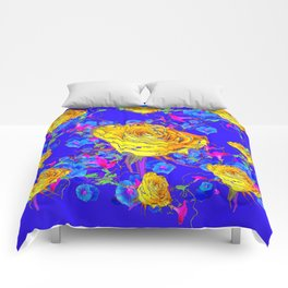 BLUE & YELLOW ROSE BLUE MORNING GLORY FLOWERS  DES Comforters
