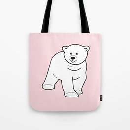 White bear on pink background Tote Bag
