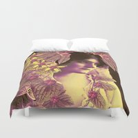 wedding Duvet Covers featuring GARDEN WEDDING by Julia Lillard Art
