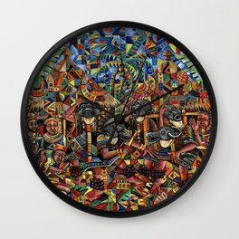 Juju Dance Group Painting from Africa Wall Clock