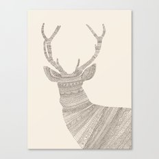 Stag / Deer (On Beige) Canvas Print