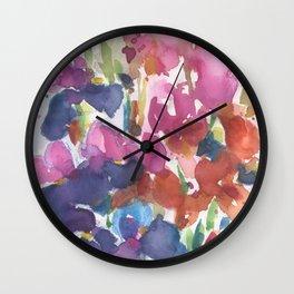 Pink Iris Splash Wall Clock