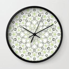 Olive green spring floral mandala Wall Clock