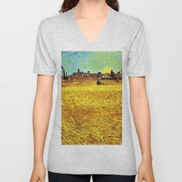 Sunset at Wheat Field by Vincent van Gogh Unisex V-Neck