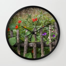 Old Fence and Flowers Summer Scenery Wall Clock