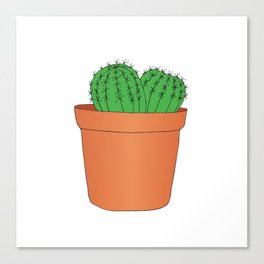 Hand drawn green cactus in the pot Canvas Print