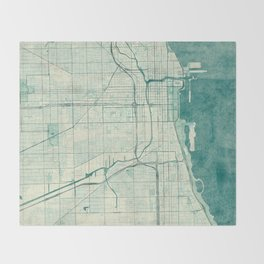 Chicago Map Blue Vintage Throw Blanket