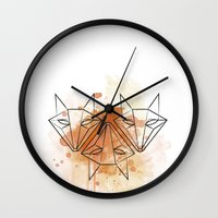 foxes Wall Clocks featuring foxes by naidl