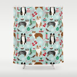 Australian Shepherd christmas festive holiday dog breed gifts for holidays Shower Curtain
