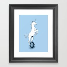 Unicorn on a unicycle - blue Framed Art Print