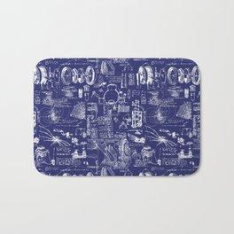Da Vinci's Sketchbook // Dark Blue Bath Mat