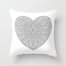 Mandala Heart with Flowers and Leaves for Adult Coloring Throw Pillow
