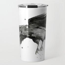 Raven Watercolor Travel Mug